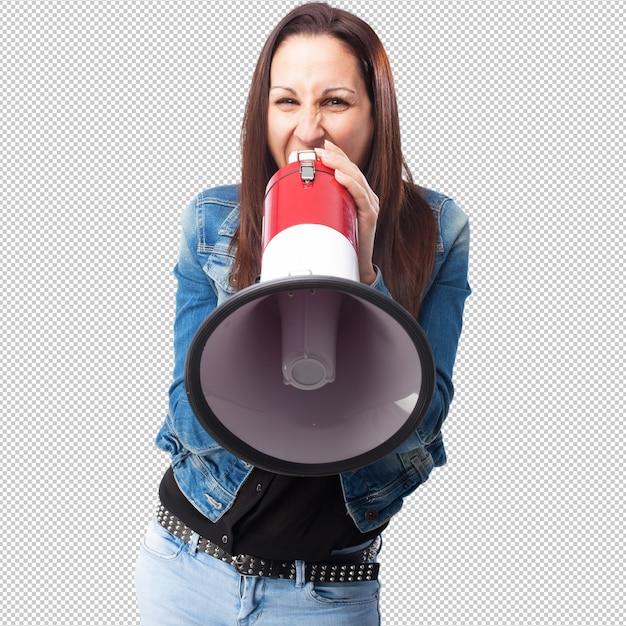 Mulher gritando com um megafone Psd Premium
