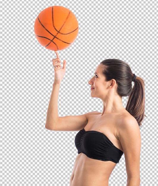 Mulher jogando basquete Psd Premium