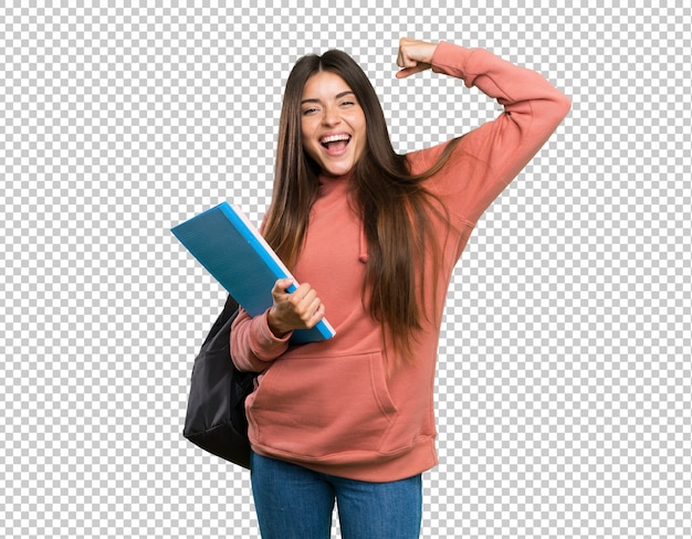 Mulher jovem, estudante, segurando, cadernos, celebrando, um, vitória Psd Premium