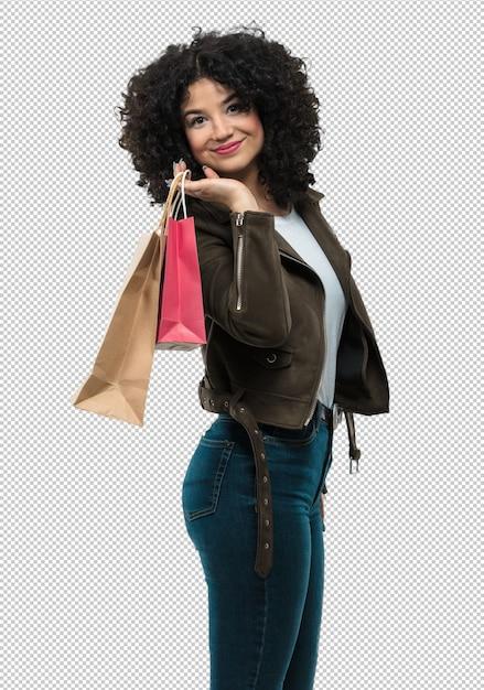 Mulher jovem, segurando, bolsas para compras Psd Premium