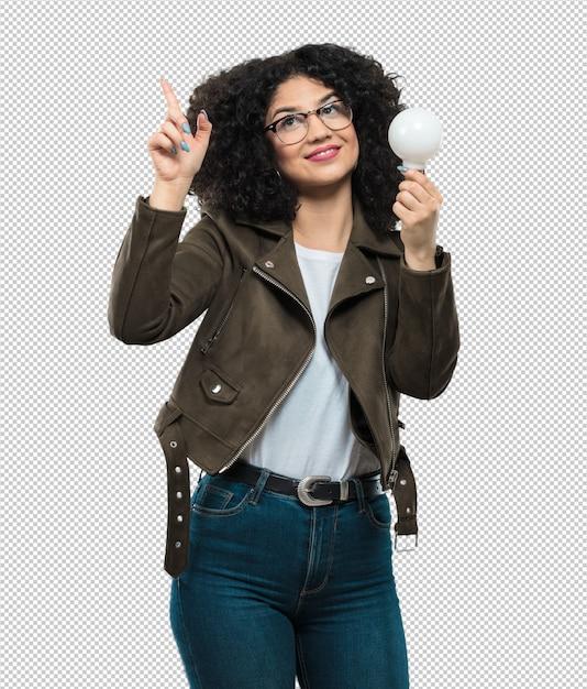 Mulher jovem, segurando, um, bulbo leve Psd Premium