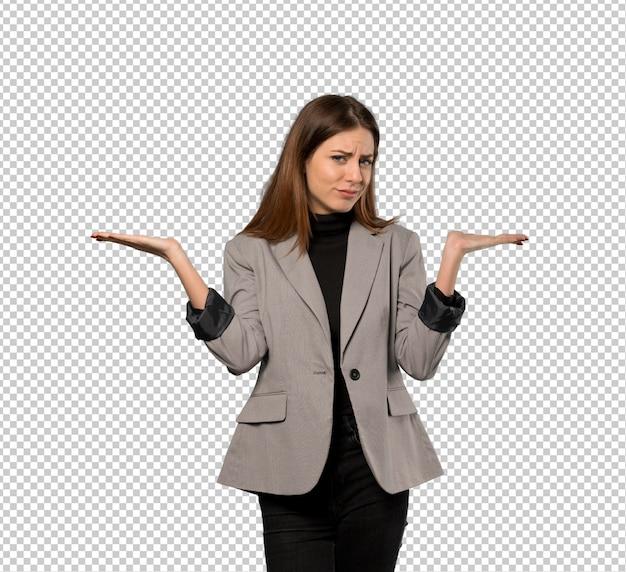 Mulher negócio, tendo, dúvidas, enquanto, levantando mãos Psd Premium