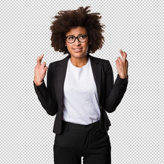 Mulher negra de negócios cruzando os dedos Psd Premium