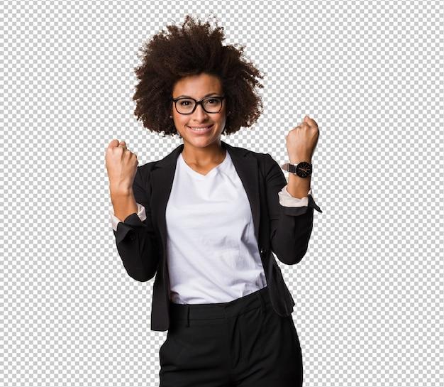 Mulher negra de negócios fazendo gesto de vencedor Psd Premium