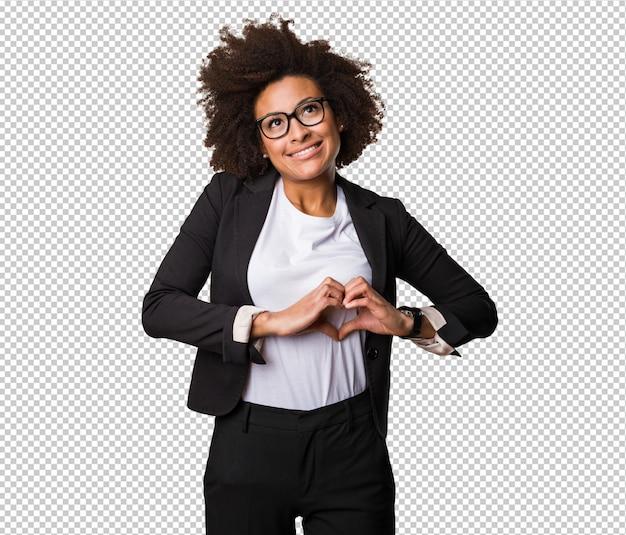 Mulher negra de negócios fazendo o símbolo do coração Psd Premium