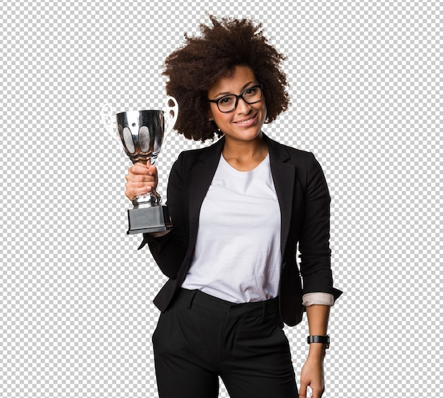 Mulher negra de negócios segurando um troféu Psd Premium