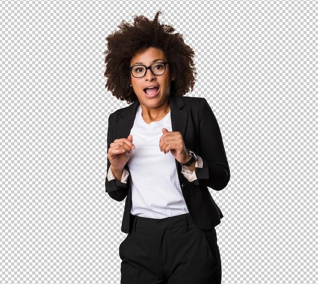 Mulher negra de negócios surpreso Psd Premium