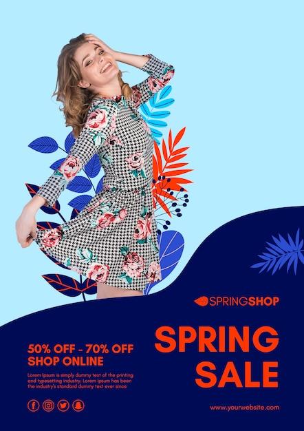 Mulher no folheto de venda de primavera de vestido Psd grátis