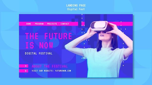 Mulher usando uma página de destino de fone de ouvido de realidade virtual Psd grátis