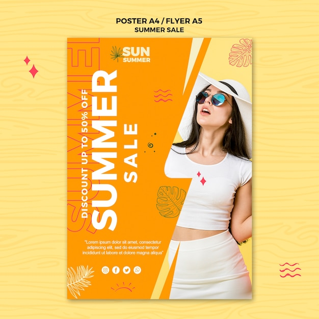 Mulher vestindo cartaz de vendas de roupas de verão Psd grátis