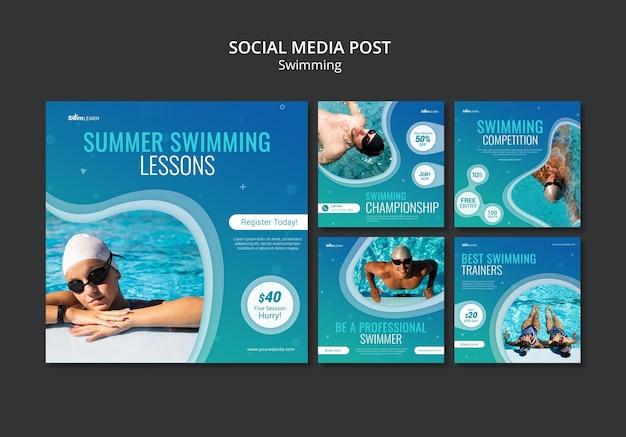 Nadando em postagens de mídia social com foto Psd grátis