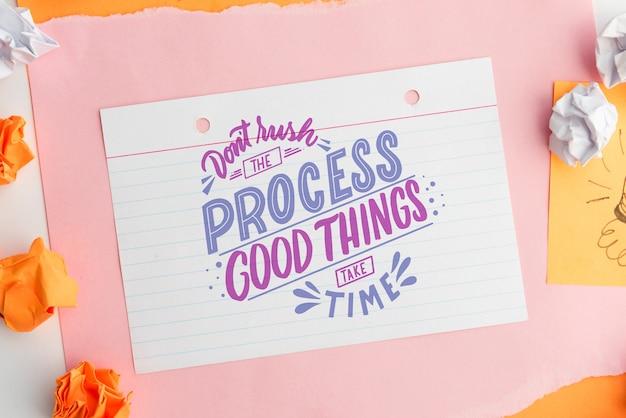 Não apresse o processo. coisas boas levam tempo. citação em papel branco Psd grátis