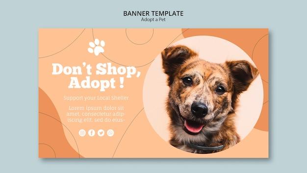 Não compre, adote um modelo de banner para animais de estimação Psd grátis