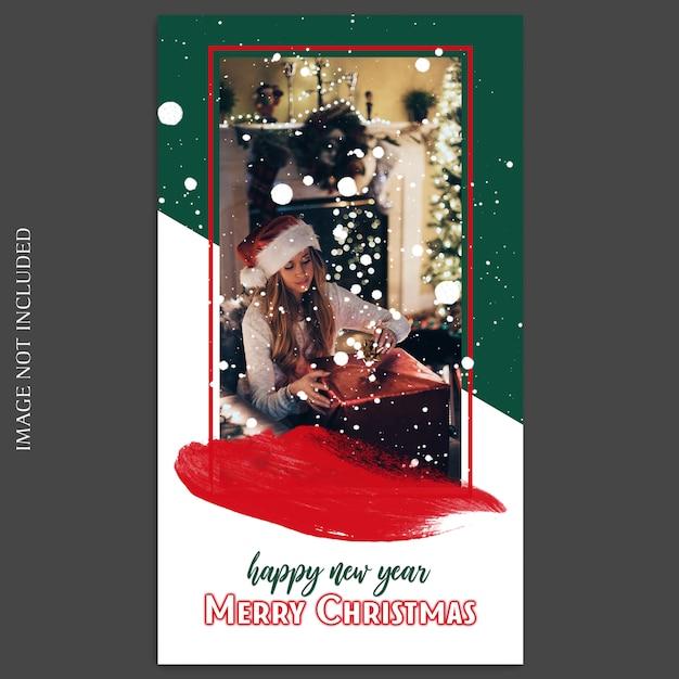 Natal e feliz ano novo 2019 foto mockup e instagram modelo de história para mídias sociais Psd Premium
