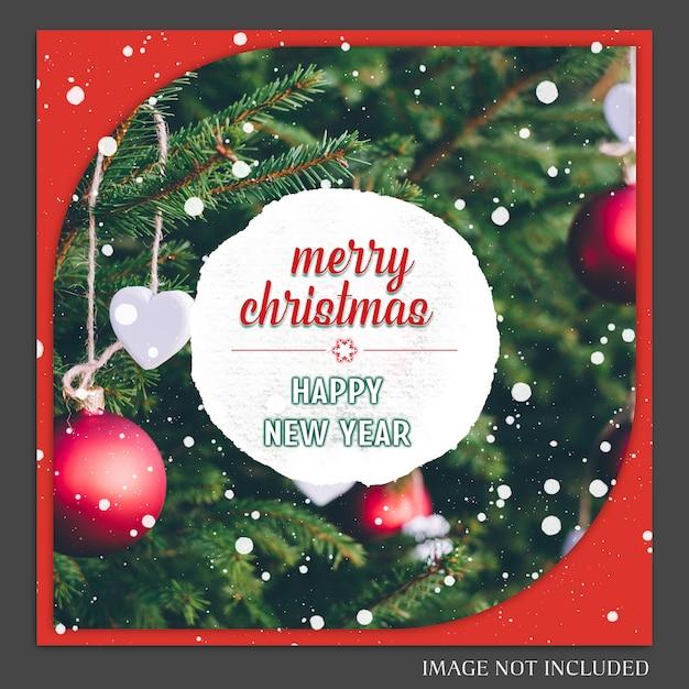 Natal e feliz ano novo 2019 foto mockup e instagram post modelo para medi social Psd Premium