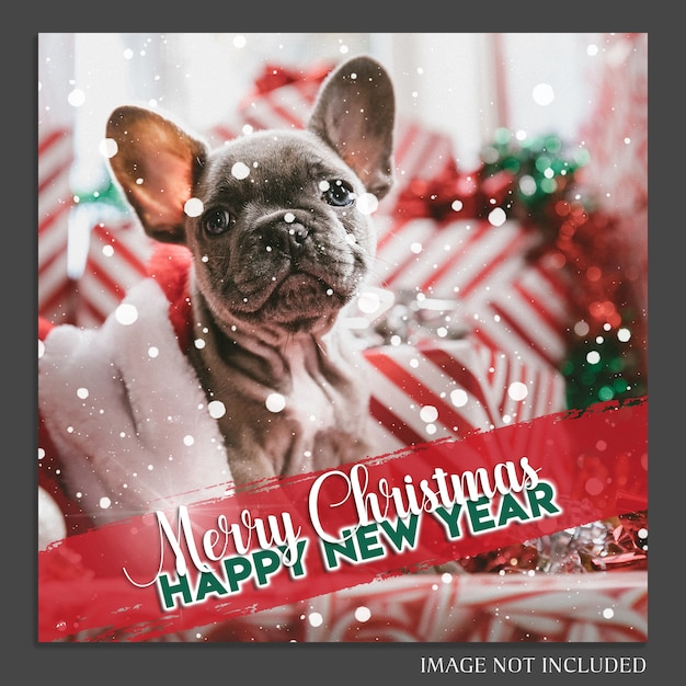 Natal e feliz ano novo 2019 foto mockup e instagram post template Psd Premium
