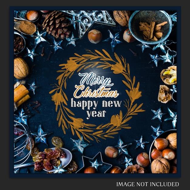 Natal e feliz ano novo 2019 foto mockup e instagram post Psd Premium