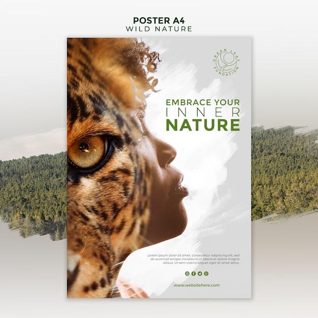 Natureza selvagem com cartaz de olho de mulher e tigre Psd grátis