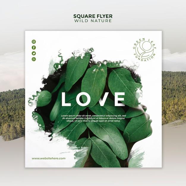 Natureza selvagem com silhueta abstrata mulher e folhas panfleto quadrado Psd grátis