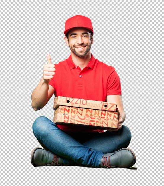 Negociante de pizza sentado segurando uma caixa de pizza Psd Premium