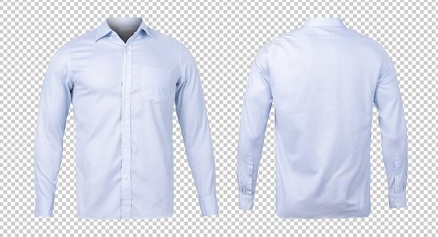 Negócios ou camisa azul formal, modelo de mock-up vista frontal e traseira para seu projeto. Psd Premium