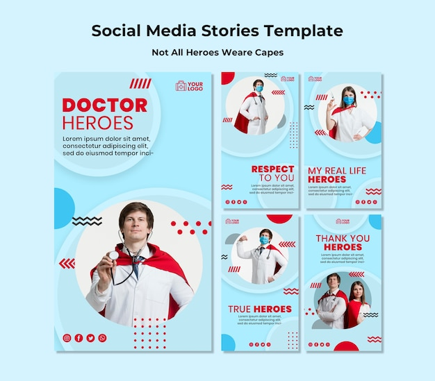 Nem todos os heróis usam capas modelo de histórias de mídia social Psd grátis