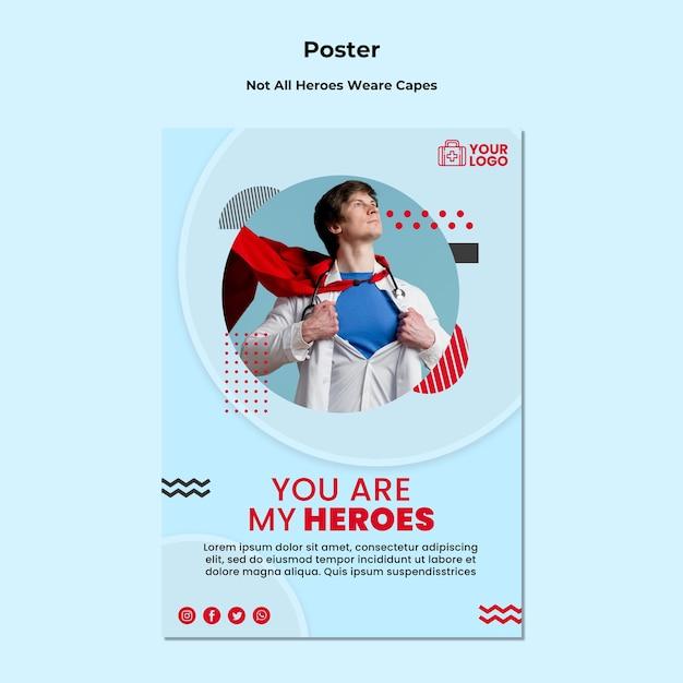 Nem todos os heróis usam panfleto de modelo de capas Psd grátis
