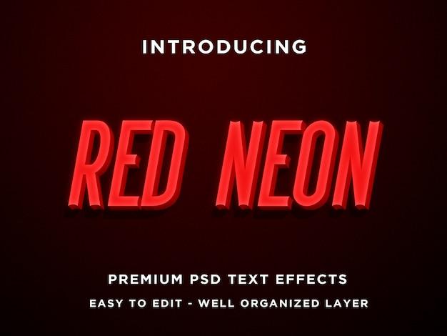 Néon vermelho, efeitos de texto 3d premium psd Psd Premium