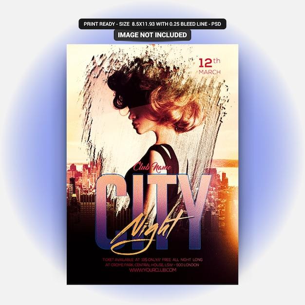 Noite da cidade dj partido Psd Premium