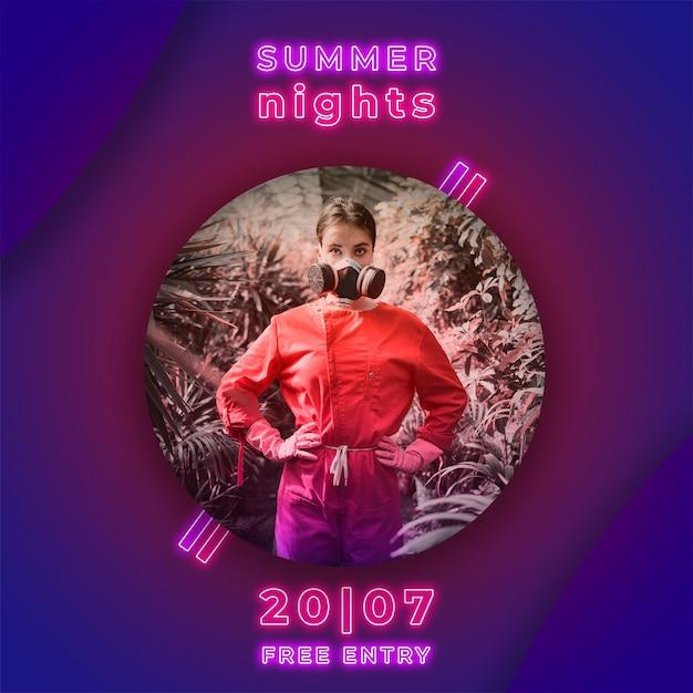 Noite de verão festa banner em estilo de luzes de néon Psd grátis