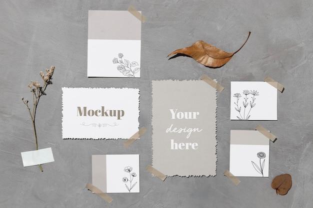 Notas de papel e folhas coladas na parede com fita adesiva Psd grátis