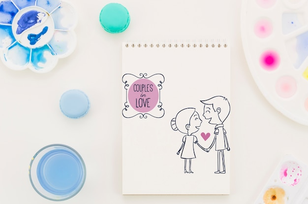 Notebook Com Casal Apaixonado Desenho Psd Gratis