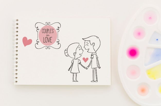 Notebook com desenho de conceito de amor Psd grátis