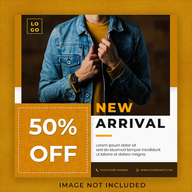 Nova chegada jeans denim fashion collection instagram post banner modelo Psd Premium