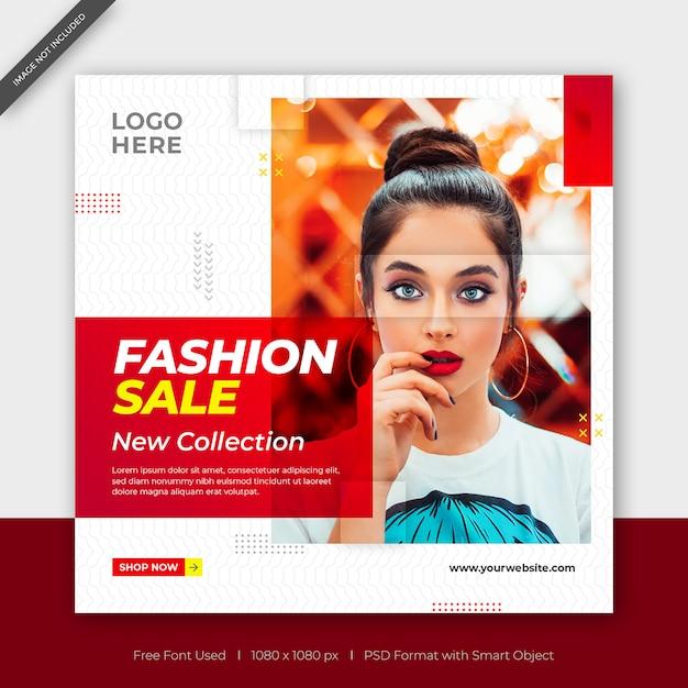 Nova coleção de moda venda facebook ou instagram post banner quadrado Psd Premium