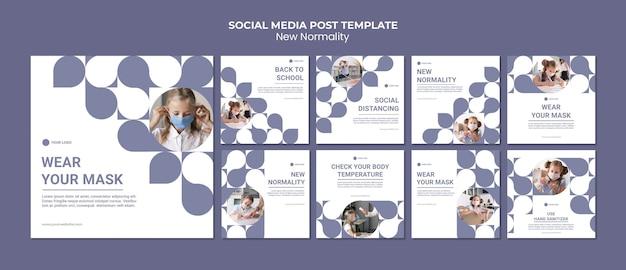 Novas postagens de normalidade nas redes sociais Psd Premium