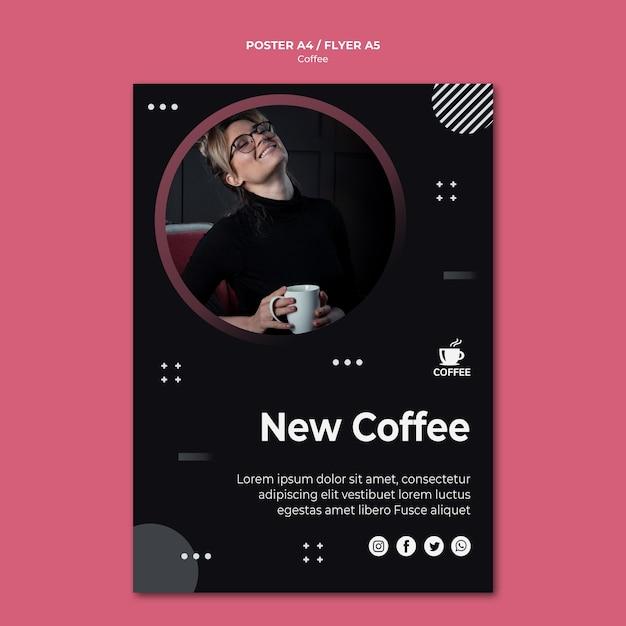 Novo design de cartaz conceito café Psd grátis