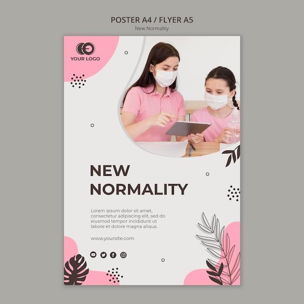 Novo design de cartaz de normalidade Psd grátis