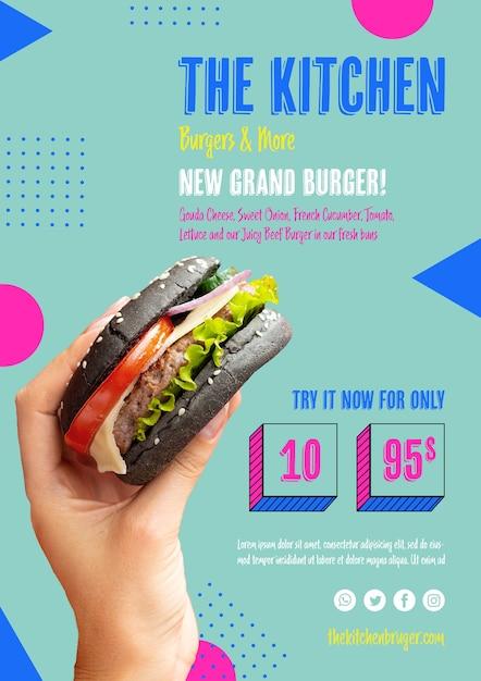 Novo menu de apresentação do grand burger Psd grátis
