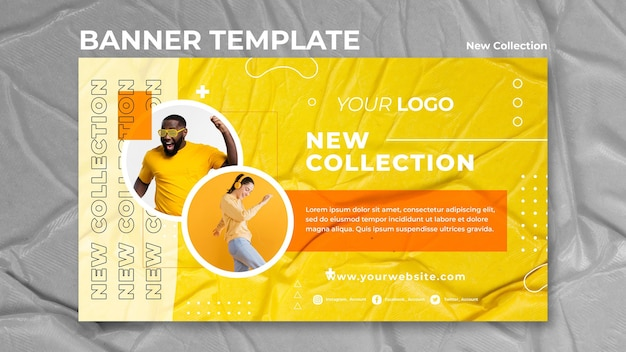 Novo modelo de banner de conceito de coleção Psd grátis