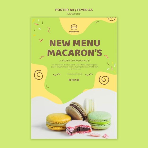 Novo modelo de cartaz do macaron de menu Psd grátis