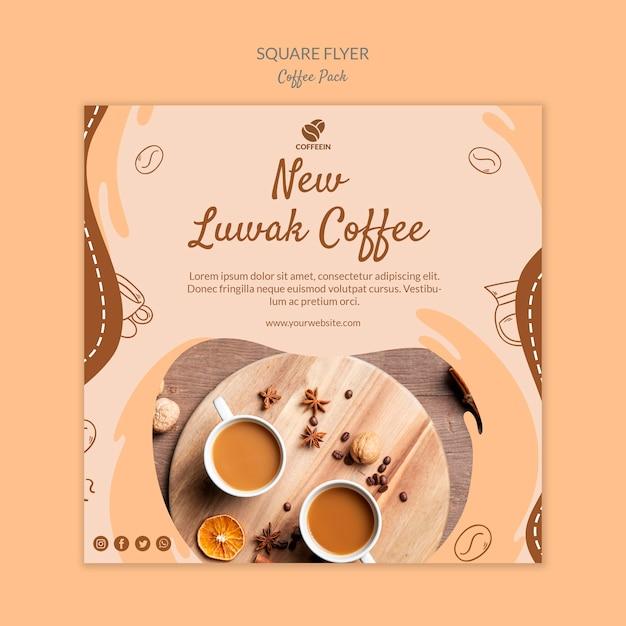 Novo modelo de impressão de folheto quadrado café Psd grátis