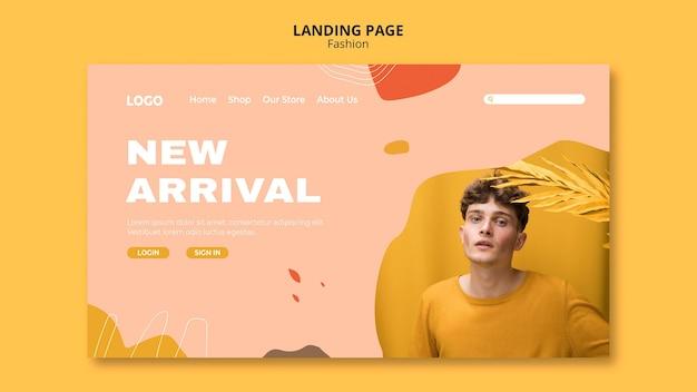 Novo modelo de página de destino de moda masculina Psd grátis