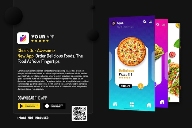 Novo modelo de promoção de aplicativo para smartphone, logotipo e botões de download com leitura de código qr Psd Premium