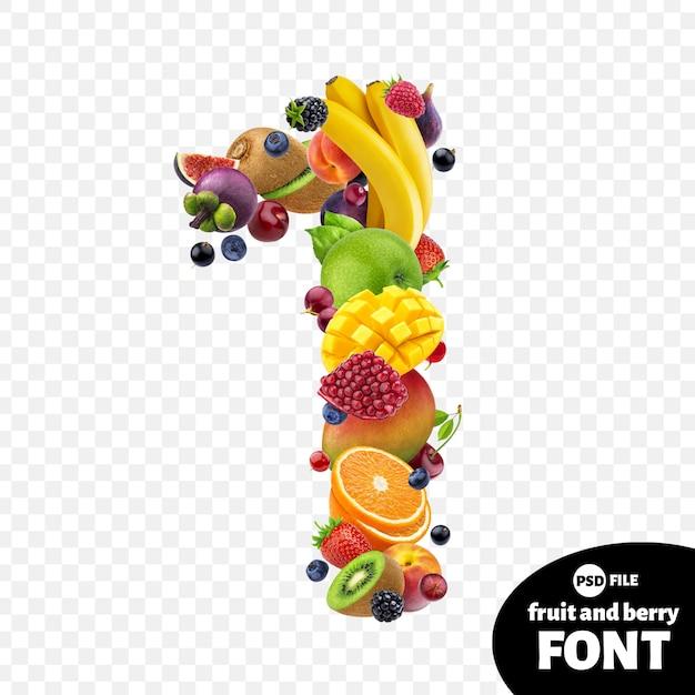 Número um feito com frutas Psd Premium