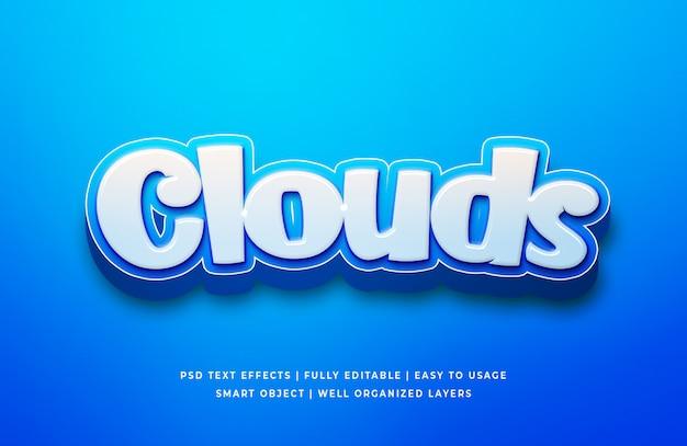 Nuvens cartoon 3d texto sty Psd Premium