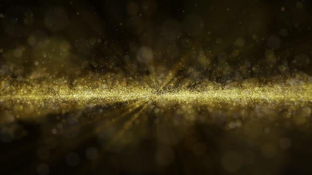 O brilho dourado do particale da poeira do brilho acende o fundo abstrato para a celebração com feixe luminoso e brilho no centro. voar através. Psd Premium