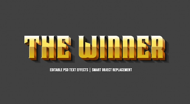 O efeito de estilo de texto 3d vencedor de ouro Psd Premium