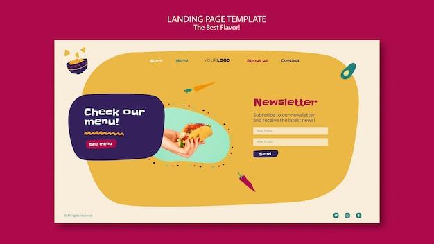 O melhor design de página de destino de sabor Psd grátis