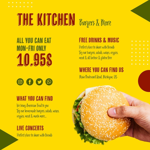 O modelo de hambúrguer saboroso de menu de cozinha Psd grátis
